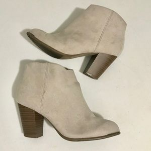 Old Navy Faux Suede Beige Ankle Boots